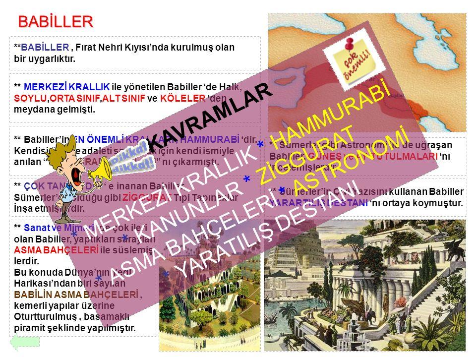 BABİLLER **BABİLLER, Fırat Nehri Kıyısı'nda kurulmuş olan bir uygarlıktır. ** MERKEZİ KRALLIK ile yönetilen Babiller 'de Halk, SOYLU,ORTA SINIF,ALT SI