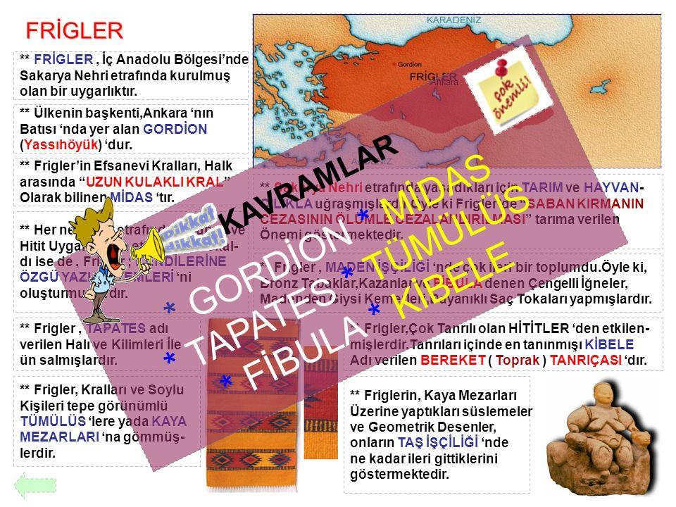 FRİGLER ** FRİGLER, İç Anadolu Bölgesi'nde Sakarya Nehri etrafında kurulmuş olan bir uygarlıktır. ** Ülkenin başkenti,Ankara 'nın Batısı 'nda yer alan