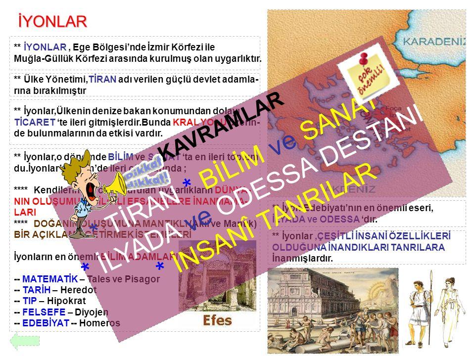 İYONLAR ** İYONLAR, Ege Bölgesi'nde İzmir Körfezi ile Muğla-Güllük Körfezi arasında kurulmuş olan uygarlıktır. ** Ülke Yönetimi,TİRAN adı verilen güçl