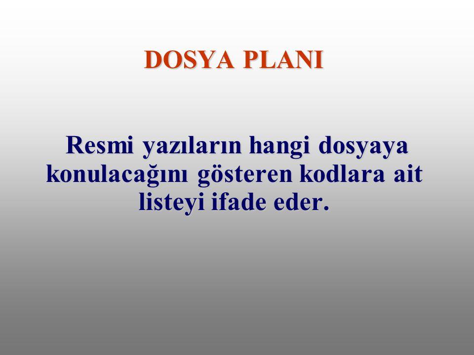 DOSYA PLANI Resmi yazıların hangi dosyaya konulacağını gösteren kodlara ait listeyi ifade eder.