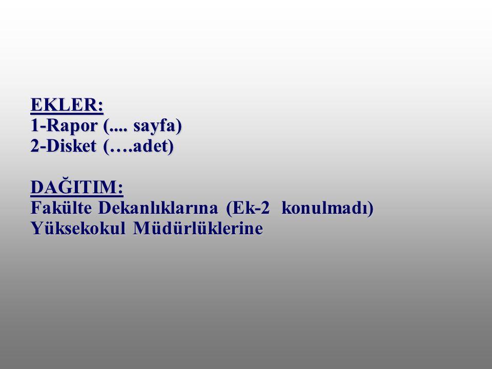 EKLER: 1-Rapor (.... sayfa) 2-Disket (….adet) DAĞITIM: Fakülte Dekanlıklarına (Ek-2 konulmadı) Yüksekokul Müdürlüklerine