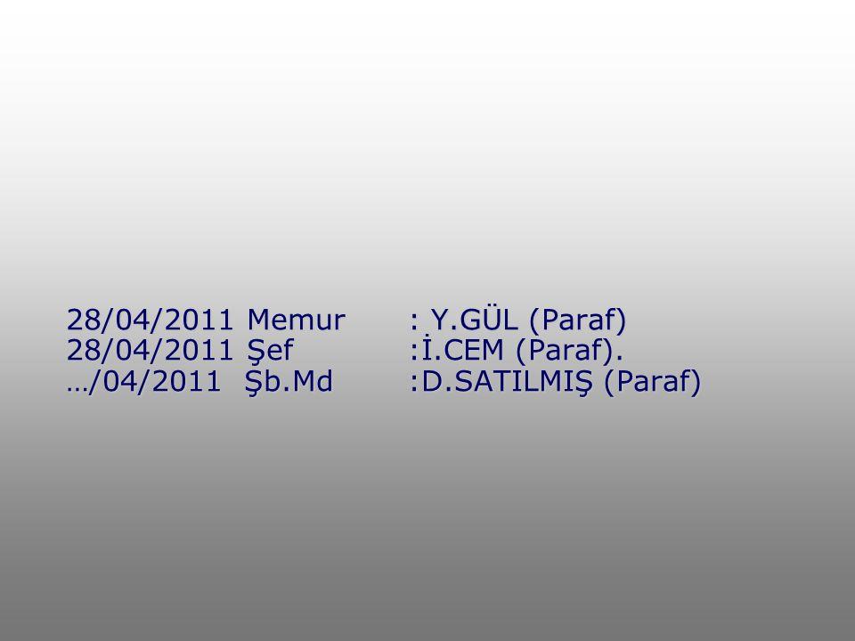 28/04/2011 Memur: Y.GÜL (Paraf) 28/04/2011 Şef:İ.CEM (Paraf). …/04/2011 Şb.Md:D.SATILMIŞ (Paraf)