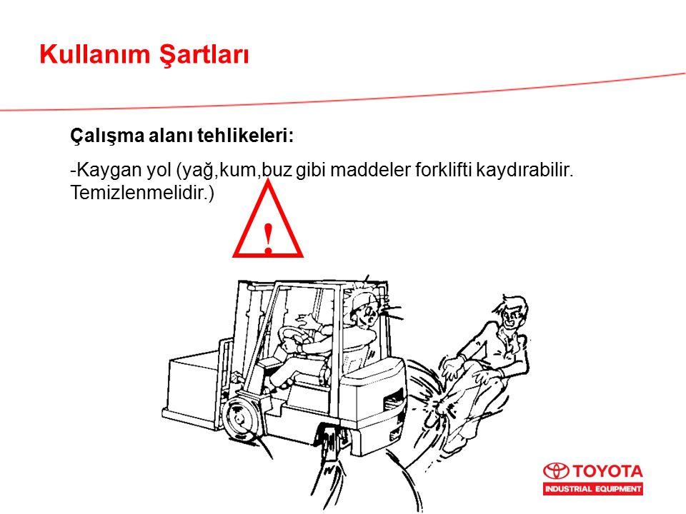 Kullanım Şartları Çalışma alanı tehlikeleri: -Kaygan yol (yağ,kum,buz gibi maddeler forklifti kaydırabilir. Temizlenmelidir.) !