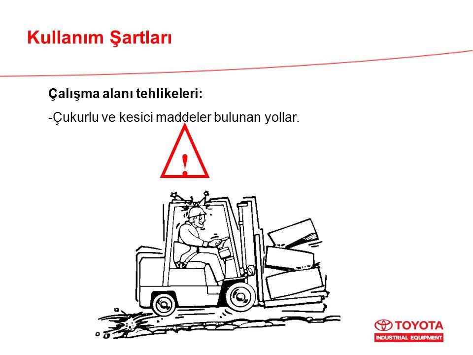 Kullanım Şartları Çalışma alanı tehlikeleri: -Çukurlu ve kesici maddeler bulunan yollar. !
