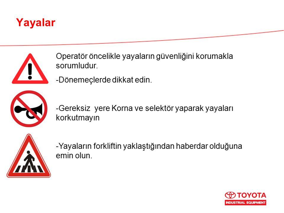 Yayalar Operatör öncelikle yayaların güvenliğini korumakla sorumludur. -Dönemeçlerde dikkat edin. -Gereksiz yere Korna ve selektör yaparak yayaları ko
