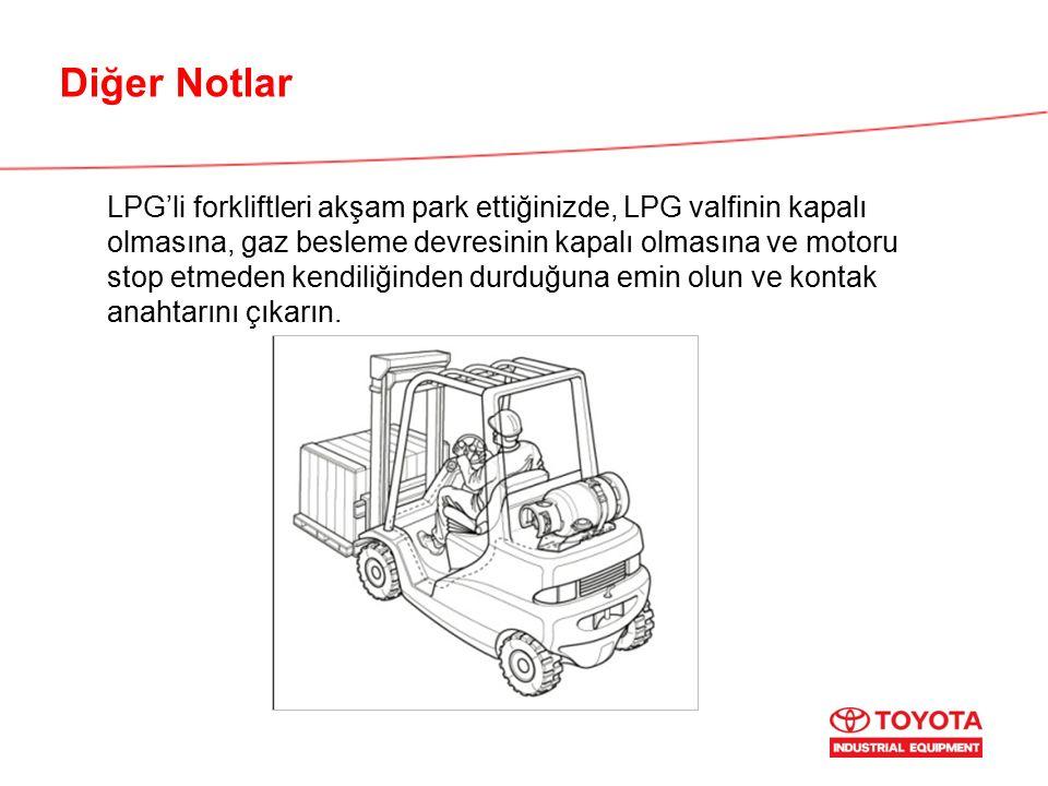 Diğer Notlar LPG'li forkliftleri akşam park ettiğinizde, LPG valfinin kapalı olmasına, gaz besleme devresinin kapalı olmasına ve motoru stop etmeden kendiliğinden durduğuna emin olun ve kontak anahtarını çıkarın.