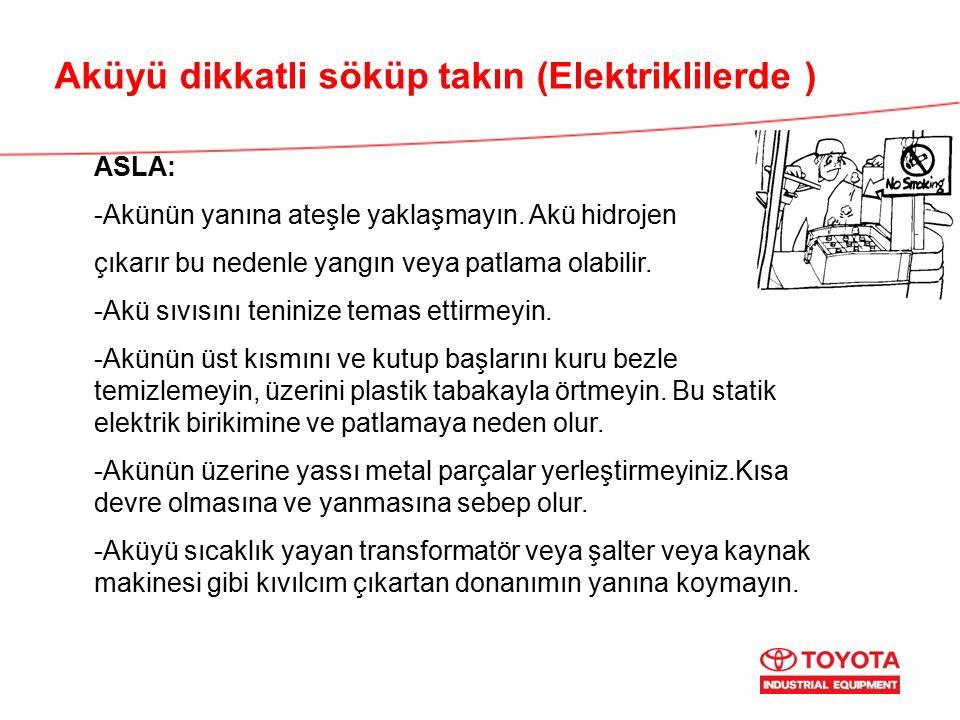 Aküyü dikkatli söküp takın (Elektriklilerde ) ASLA: -Akünün yanına ateşle yaklaşmayın.