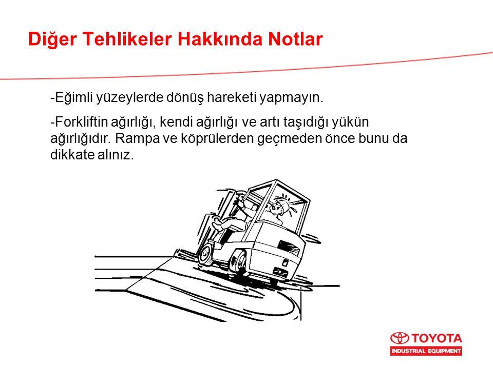 Diğer Tehlikeler Hakkında Notlar -Eğimli yüzeylerde dönüş hareketi yapmayın. -Forkliftin ağırlığı, kendi ağırlığı ve artı taşıdığı yükün ağırlığıdır.