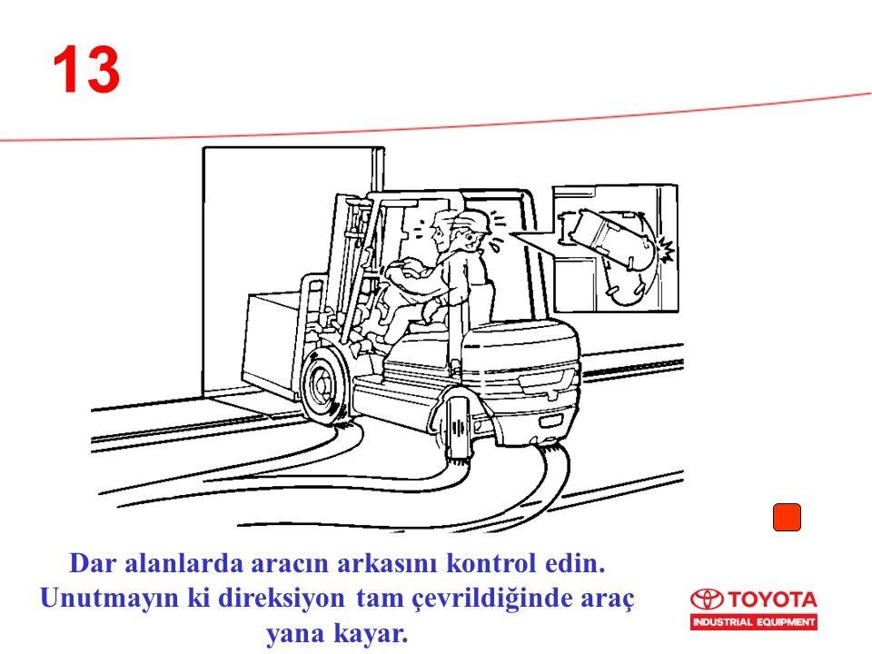 13 Dar alanlarda aracın arkasını kontrol edin.