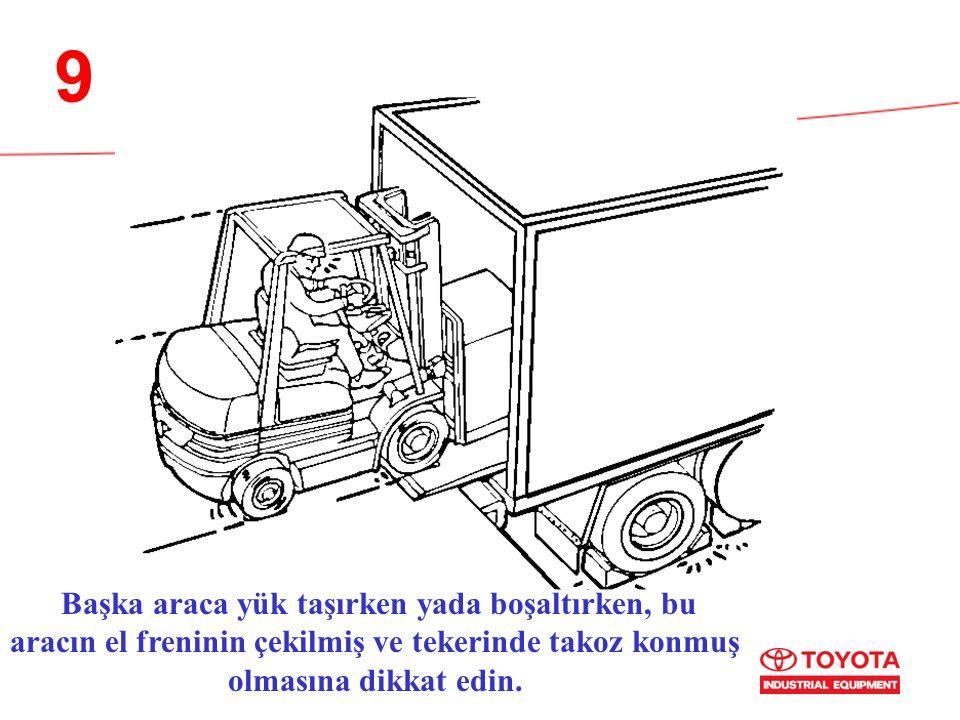 9 Başka araca yük taşırken yada boşaltırken, bu aracın el freninin çekilmiş ve tekerinde takoz konmuş olmasına dikkat edin.
