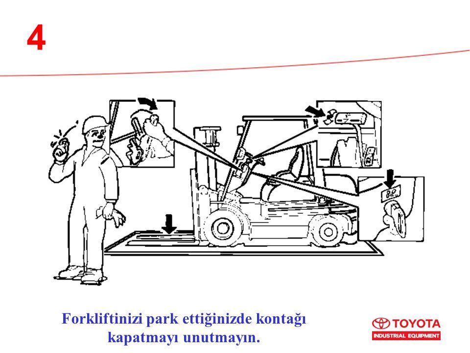 4 Forkliftinizi park ettiğinizde kontağı kapatmayı unutmayın.