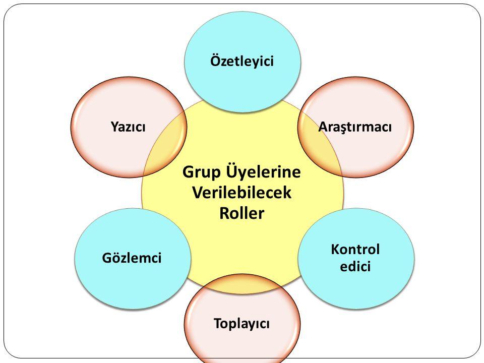 Grup Üyelerine Verilebilecek Roller ÖzetleyiciAraştırmacı Kontrol edici ToplayıcıGözlemciYazıcı