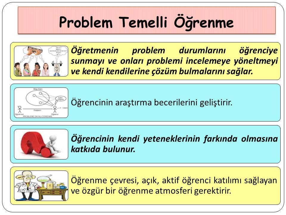 Problem Temelli Öğrenme Öğretmenin problem durumlarını öğrenciye sunmayı ve onları problemi incelemeye yöneltmeyi ve kendi kendilerine çözüm bulmalarını sağlar.
