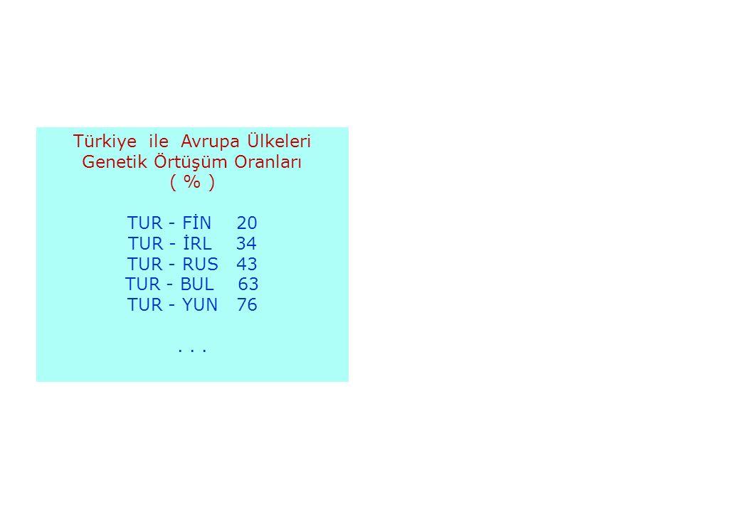 03.03.201645 Türkiye ile Avrupa Ülkeleri Genetik Örtüşüm Oranları ( % ) TUR - FİN 20 TUR - İRL 34 TUR - RUS 43 TUR - BUL 63 TUR - YUN 76...