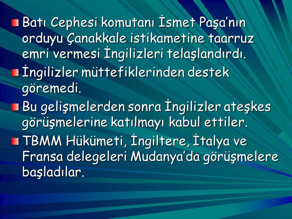 Türk Ordusu'nun İzmir'e girmesiyle beraber Batı Anadolu tamamen milli kuvvetlerimizin denetimine geçti. Sıra Doğu Trakya ve boğazların düşman işgalind