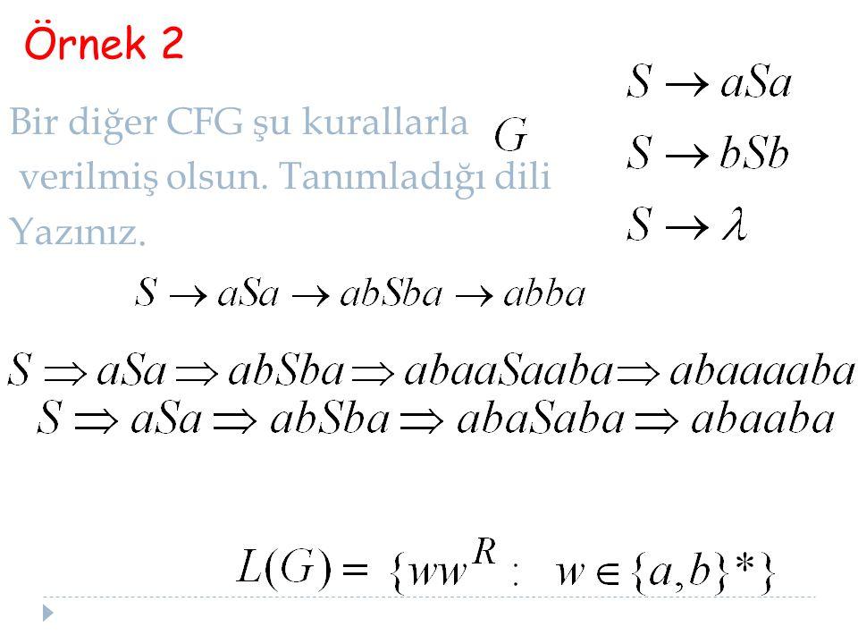 25 Bir diğer CFG şu kurallarla verilmiş olsun. Tanımladığı dili Yazınız. Örnek 2