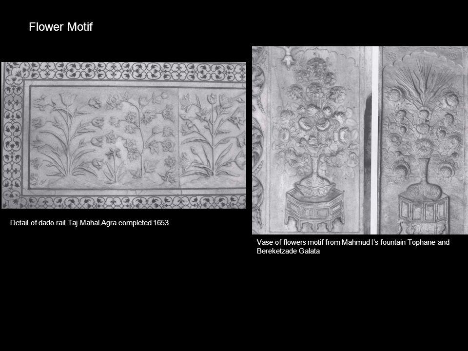 Detail of dado rail Taj Mahal Agra completed 1653 Vase of flowers motif from Mahmud I's fountain Tophane and Bereketzade Galata Flower Motif