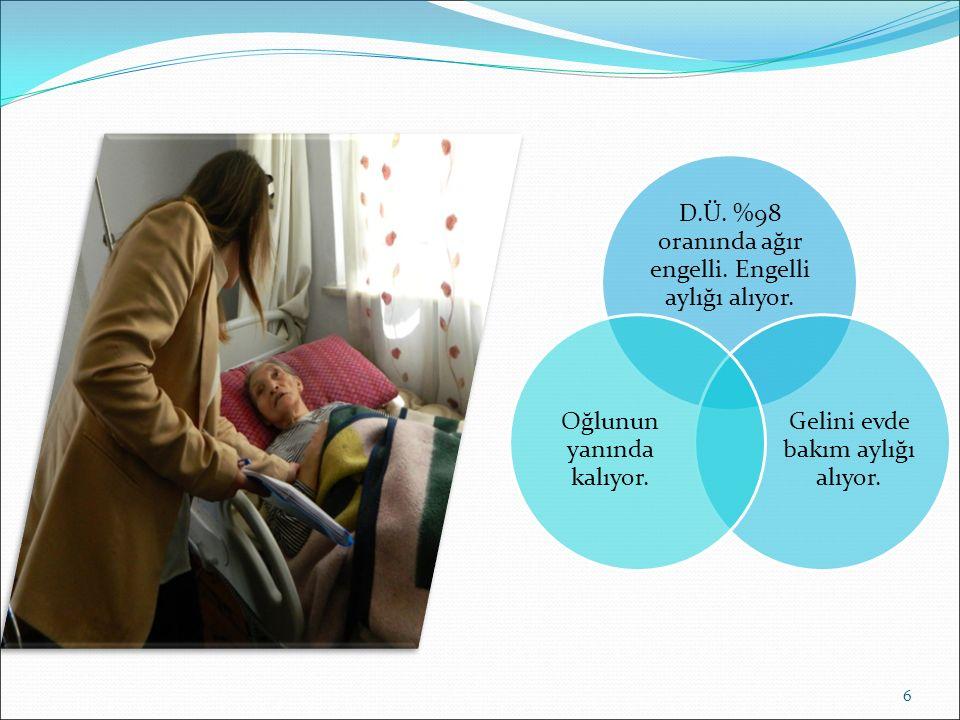 D.Ü. %98 oranında ağır engelli. Engelli aylığı alıyor.