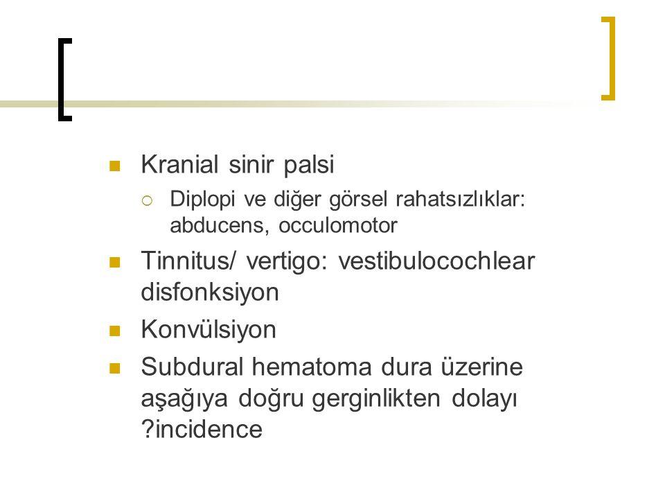 Kranial sinir palsi  Diplopi ve diğer görsel rahatsızlıklar: abducens, occulomotor Tinnitus/ vertigo: vestibulocochlear disfonksiyon Konvülsiyon Subdural hematoma dura üzerine aşağıya doğru gerginlikten dolayı ?incidence