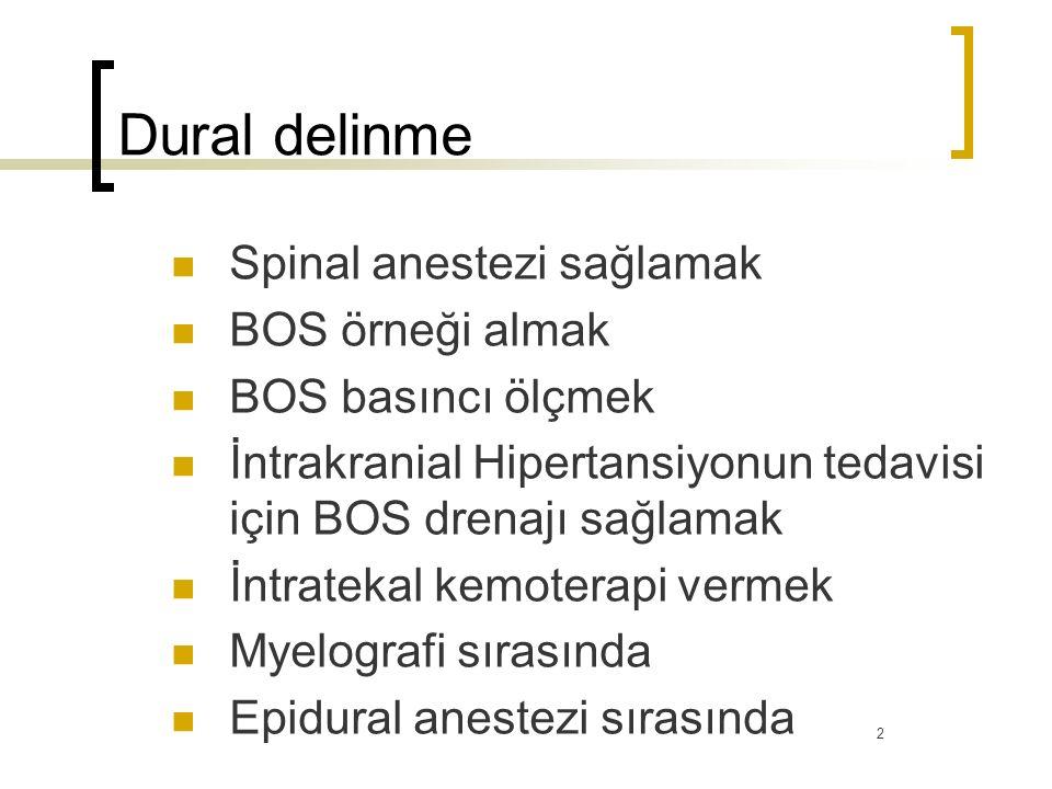 Dural delinme Spinal anestezi sağlamak BOS örneği almak BOS basıncı ölçmek İntrakranial Hipertansiyonun tedavisi için BOS drenajı sağlamak İntratekal