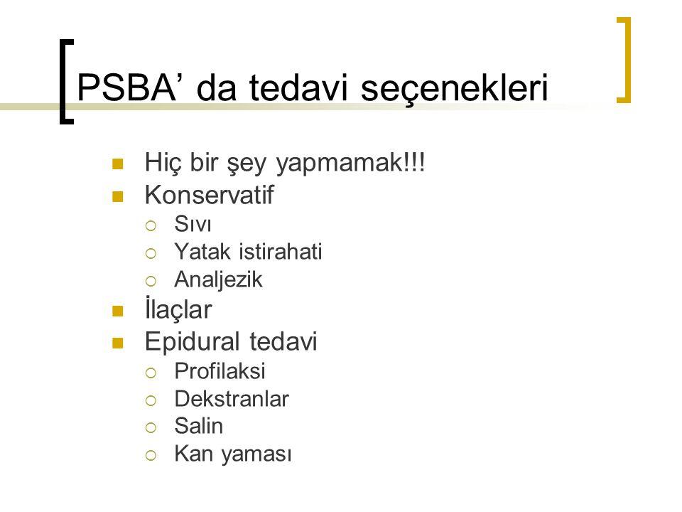 PSBA' da tedavi seçenekleri Hiç bir şey yapmamak!!.