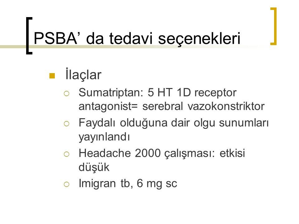 PSBA' da tedavi seçenekleri İlaçlar  Sumatriptan: 5 HT 1D receptor antagonist= serebral vazokonstriktor  Faydalı olduğuna dair olgu sunumları yayınl