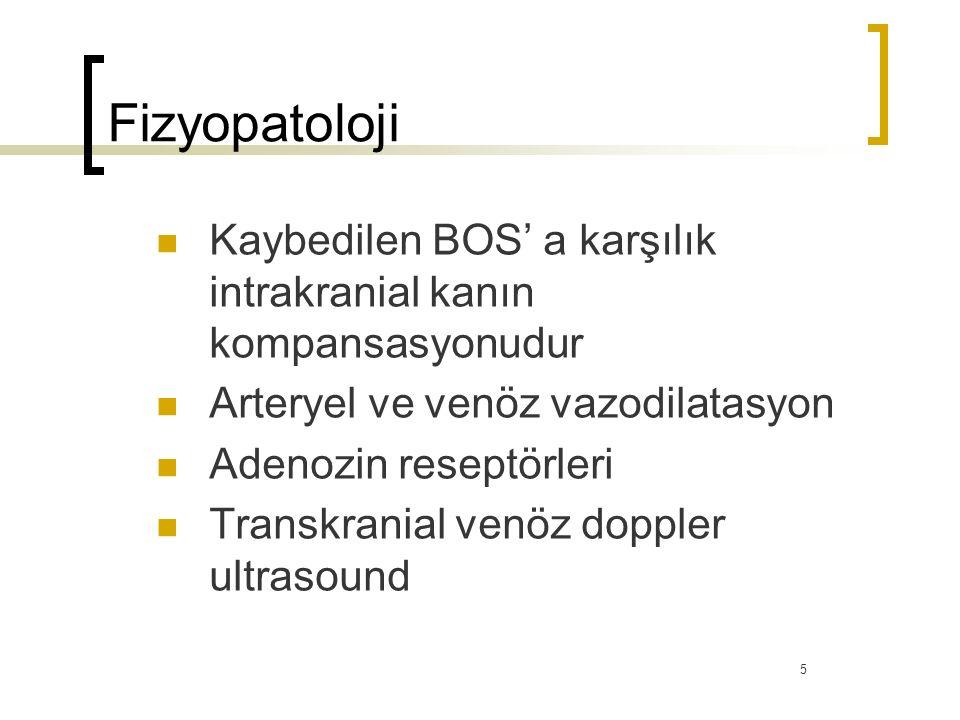 Fizyopatoloji Kaybedilen BOS' a karşılık intrakranial kanın kompansasyonudur Arteryel ve venöz vazodilatasyon Adenozin reseptörleri Transkranial venöz