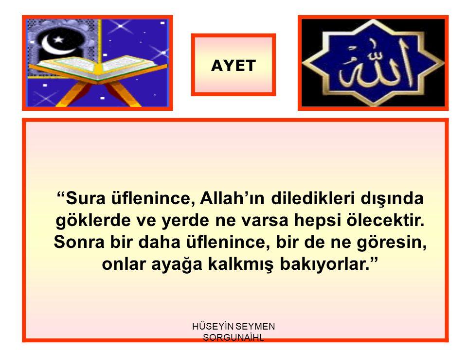 Sura üflenince, Allah'ın diledikleri dışında göklerde ve yerde ne varsa hepsi ölecektir.