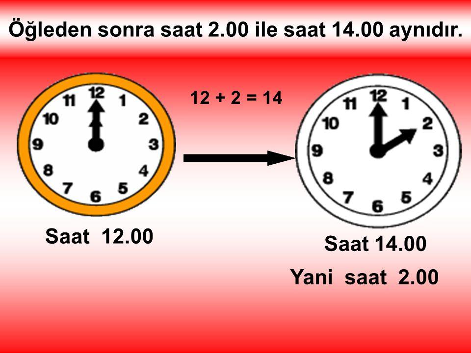 Öğleden sonra saat 2.00 ile saat 14.00 aynıdır. Saat 12.00 12 + 2 = 14 Saat 14.00 Yani saat 2.00