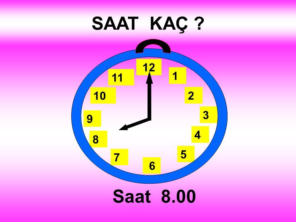 SAAT KAÇ ? Saat 8.00 1 2 3 4 5 12 11 10 6 9 8 7