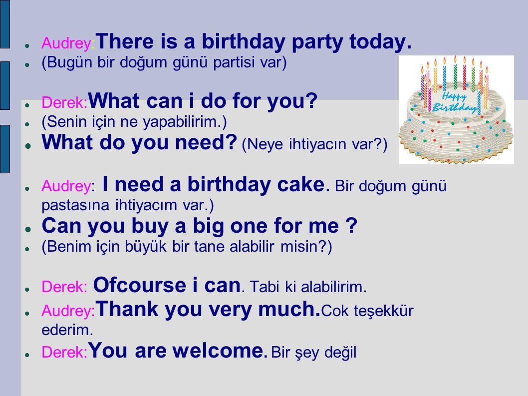 Audrey: There is a birthday party today. (Bugün bir doğum günü partisi var) Derek: What can i do for you? (Senin için ne yapabilirim.) What do you nee