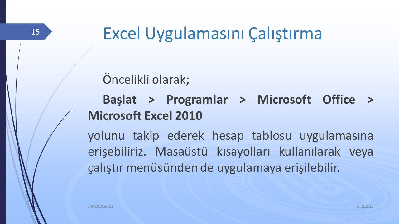 Excel Uygulamasını Çalıştırma Öncelikli olarak; Başlat > Programlar > Microsoft Office > Microsoft Excel 2010 yolunu takip ederek hesap tablosu uygulamasına erişebiliriz.