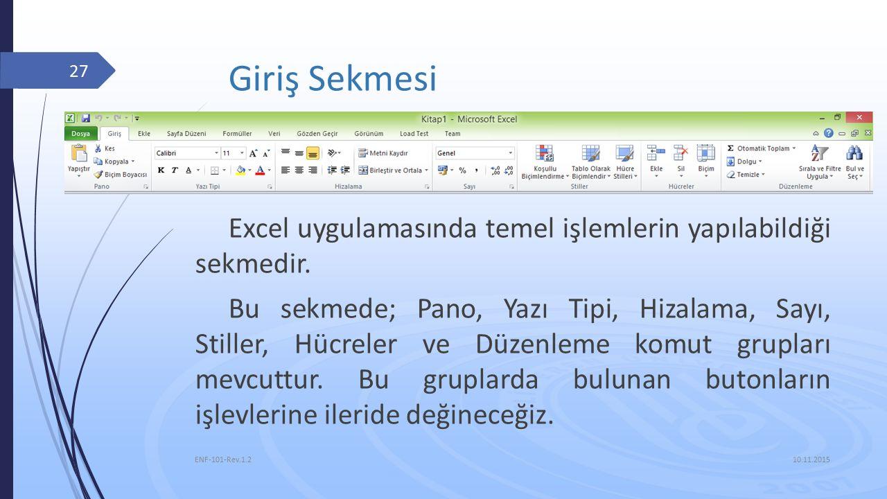 10.11.2015 ENF-101-Rev.1.2 27 Giriş Sekmesi Excel uygulamasında temel işlemlerin yapılabildiği sekmedir.