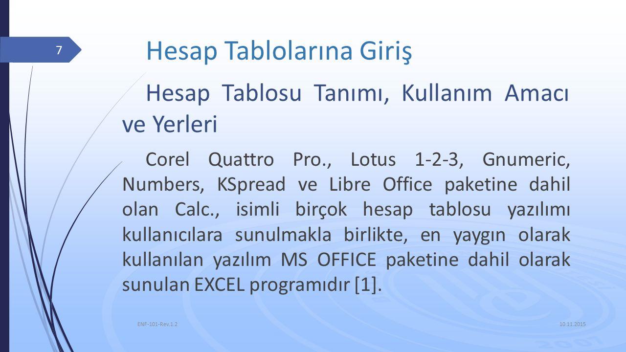 Hesap Tablolarına Giriş Corel Quattro Pro., Lotus 1‐2‐3, Gnumeric, Numbers, KSpread ve Libre Office paketine dahil olan Calc., isimli birçok hesap tablosu yazılımı kullanıcılara sunulmakla birlikte, en yaygın olarak kullanılan yazılım MS OFFICE paketine dahil olarak sunulan EXCEL programıdır [1].