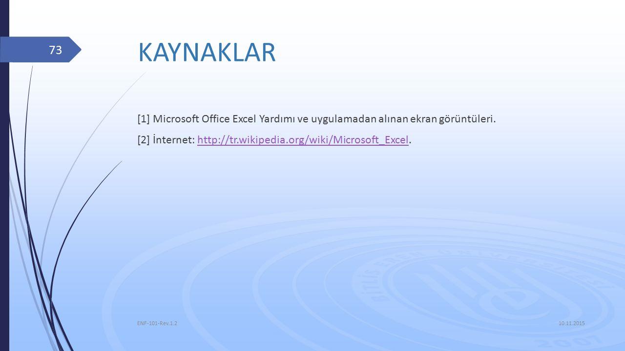 KAYNAKLAR [1] Microsoft Office Excel Yardımı ve uygulamadan alınan ekran görüntüleri.