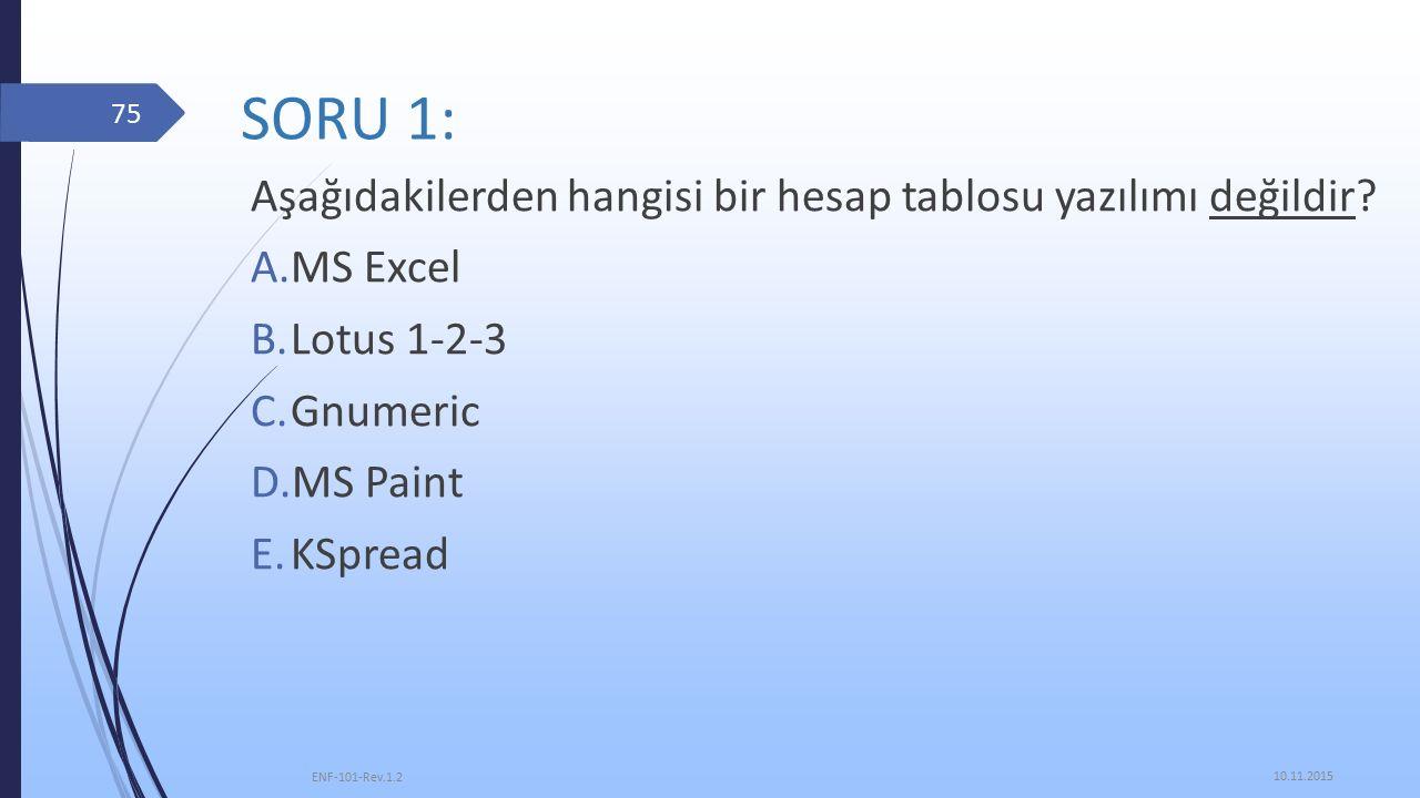 SORU 1: Aşağıdakilerden hangisi bir hesap tablosu yazılımı değildir.