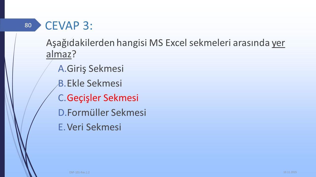 CEVAP 3: Aşağıdakilerden hangisi MS Excel sekmeleri arasında yer almaz.