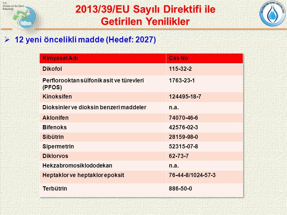 2013/39/EU Sayılı Direktifi ile Getirilen Yenilikler  12 yeni öncelikli madde (Hedef: 2027)