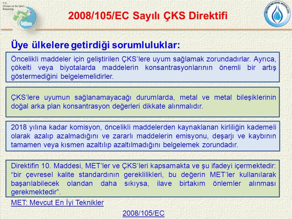 2008/105/EC Sayılı ÇKS Direktifi Üye ülkelere getirdiği sorumluluklar: Öncelikli maddeler için geliştirilen ÇKS'lere uyum sağlamak zorundadırlar.