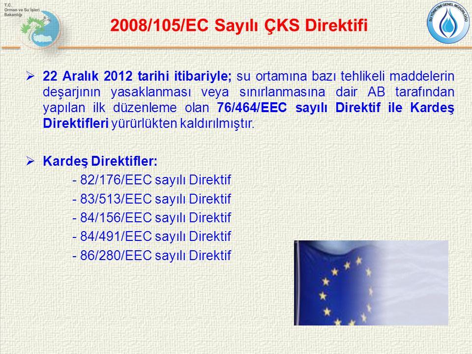2008/105/EC Sayılı ÇKS Direktifi  22 Aralık 2012 tarihi itibariyle; su ortamına bazı tehlikeli maddelerin deşarjının yasaklanması veya sınırlanmasına dair AB tarafından yapılan ilk düzenleme olan 76/464/EEC sayılı Direktif ile Kardeş Direktifleri yürürlükten kaldırılmıştır.