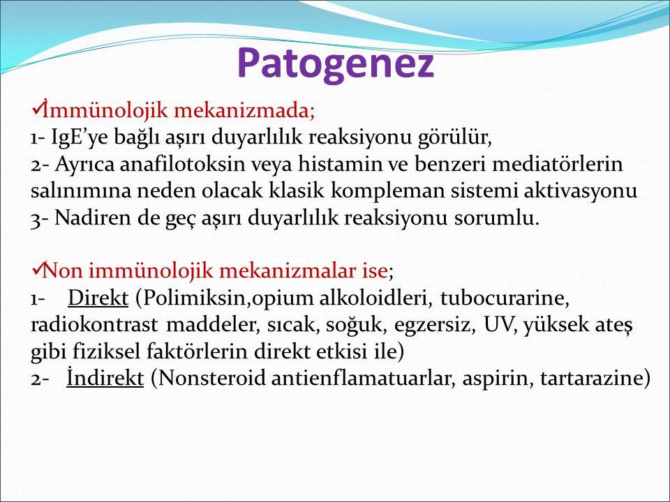 İmmünolojik mekanizmada; 1- IgE'ye bağlı aşırı duyarlılık reaksiyonu görülür, 2- Ayrıca anafilotoksin veya histamin ve benzeri mediatörlerin salınımın