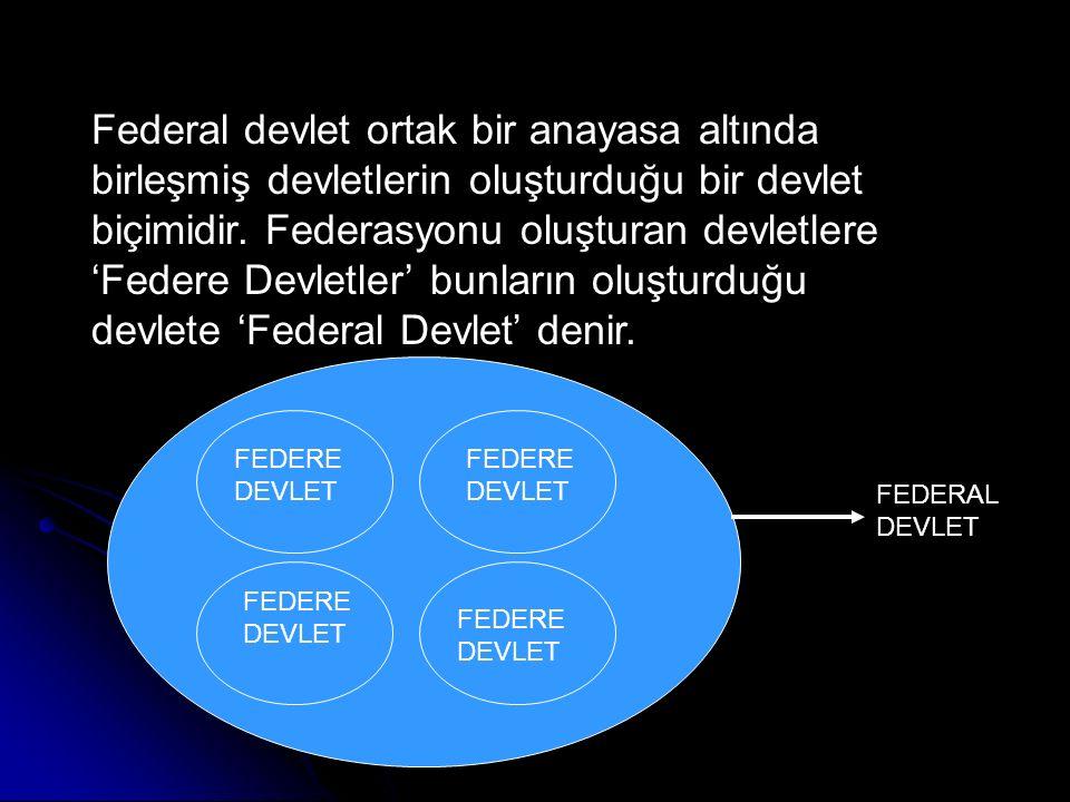 Federal devlet ortak bir anayasa altında birleşmiş devletlerin oluşturduğu bir devlet biçimidir. Federasyonu oluşturan devletlere 'Federe Devletler' b