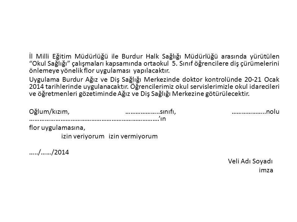 """İl Milli Eğitim Müdürlüğü ile Burdur Halk Sağlığı Müdürlüğü arasında yürütülen """"Okul Sağlığı"""" çalışmaları kapsamında ortaokul 5. Sınıf öğrencilere diş"""