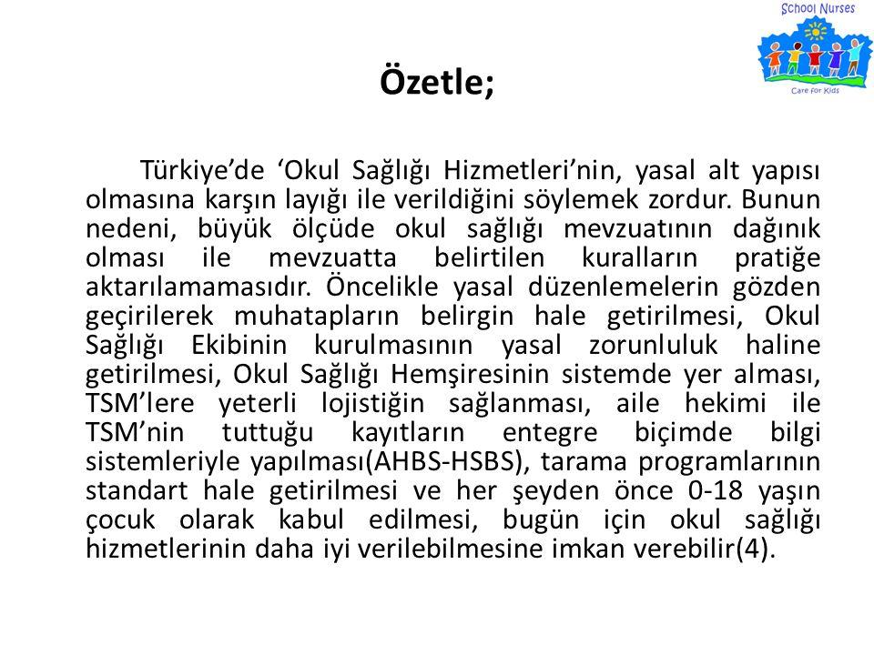 Özetle; Türkiye'de 'Okul Sağlığı Hizmetleri'nin, yasal alt yapısı olmasına karşın layığı ile verildiğini söylemek zordur. Bunun nedeni, büyük ölçüde o