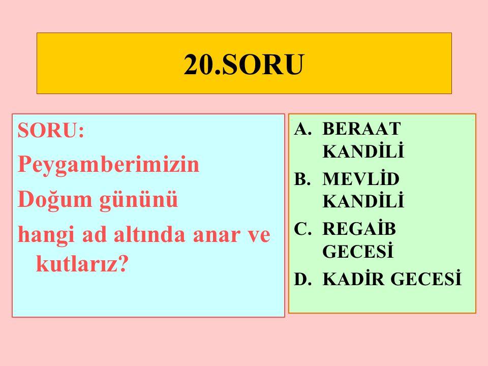 19.SORU SORU: Hangisi ilk müslümanlar arasında s ss sayılamaz.