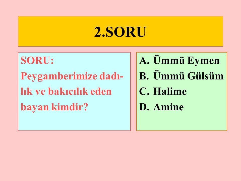 1.SORU SORU: Hangisi peygamberimi- zin bir adı veya künyesi değildir.