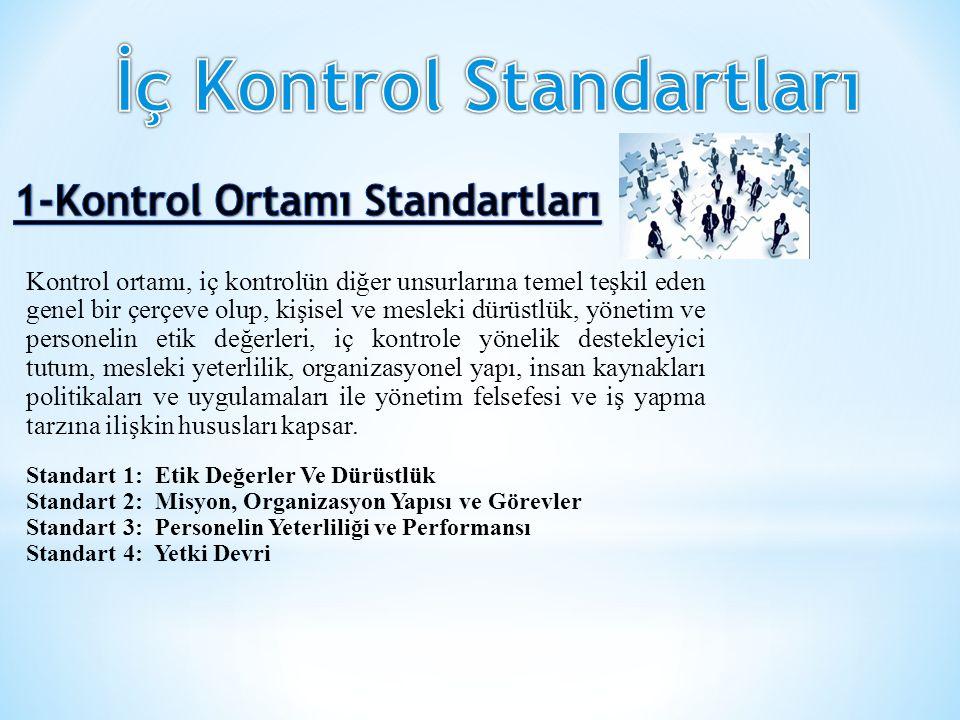 Kontrol ortamı, iç kontrolün diğer unsurlarına temel teşkil eden genel bir çerçeve olup, kişisel ve mesleki dürüstlük, yönetim ve personelin etik değe