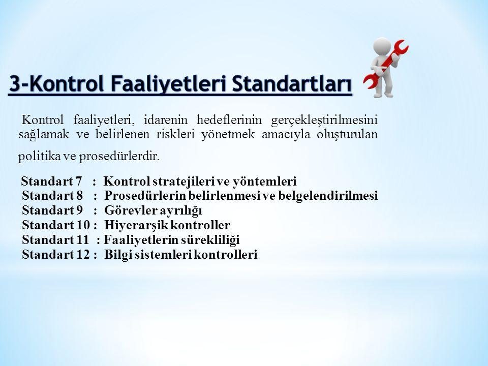 Kontrol faaliyetleri, idarenin hedeflerinin gerçekleştirilmesini sağlamak ve belirlenen riskleri yönetmek amacıyla oluşturulan politika ve prosedürler