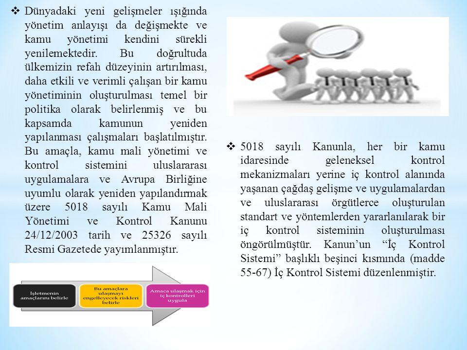  5018 sayılı Kanunla, her bir kamu idaresinde geleneksel kontrol mekanizmaları yerine iç kontrol alanında yaşanan çağdaş gelişme ve uygulamalardan ve