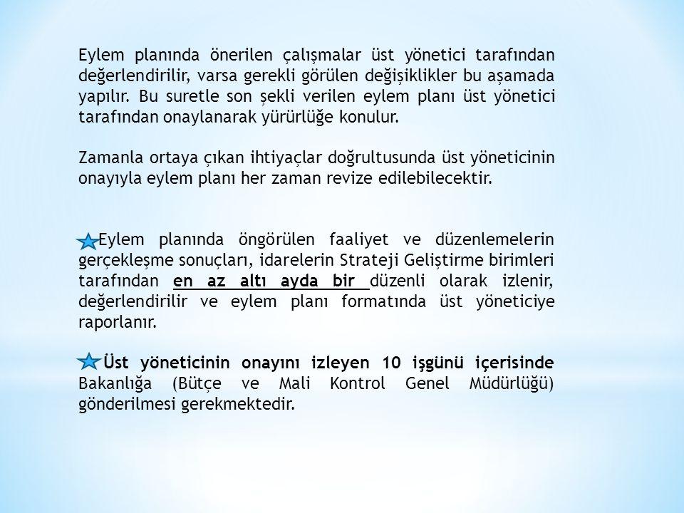 Eylem planında önerilen çalışmalar üst yönetici tarafından değerlendirilir, varsa gerekli görülen değişiklikler bu aşamada yapılır.